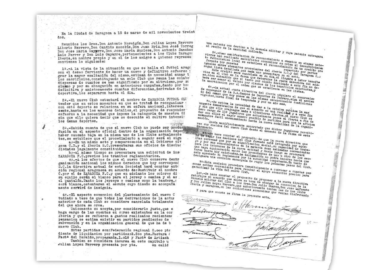 Documento de la firma de la fusión entre el Zaragoza y el Iberia.