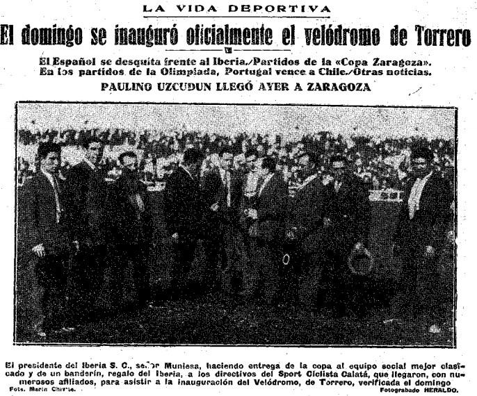 Imagen de la inauguración del velódromo de Torrero.