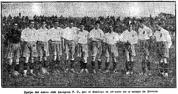 Primera alineación del nuevo Zaragoza FC.