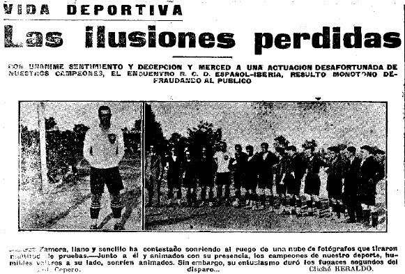 Ricardo Zamora con la indumentaria del Iberia.
