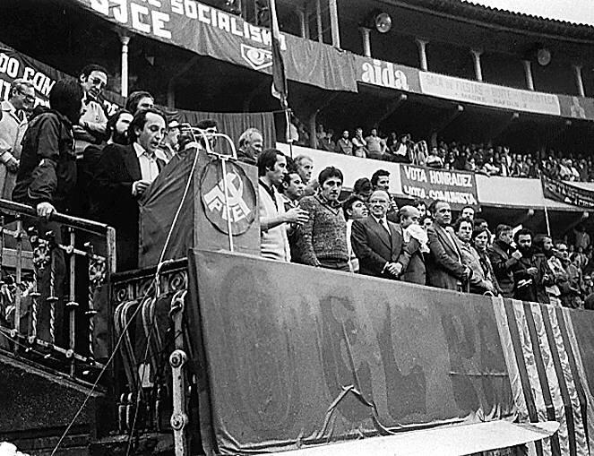 Mitin del Partido Comunista de España en Zaragoza con la presencia de Santiago Carrillo, Vicente Cazcarra y Enrique Curiel | Archivo HERALDO DE ARAGÓN