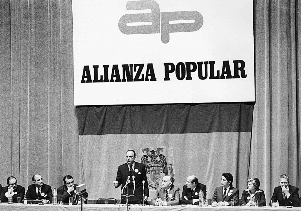 Manuel Fraga en un mitin de Alianza Popular en Zaragoza | Archivo HERALDO DE ARAGÓN
