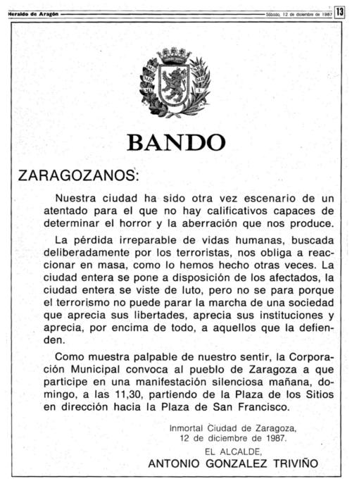 Bando publicado por el Ayuntamiento de Zaragoza en HERALDO DE ARAGÓN