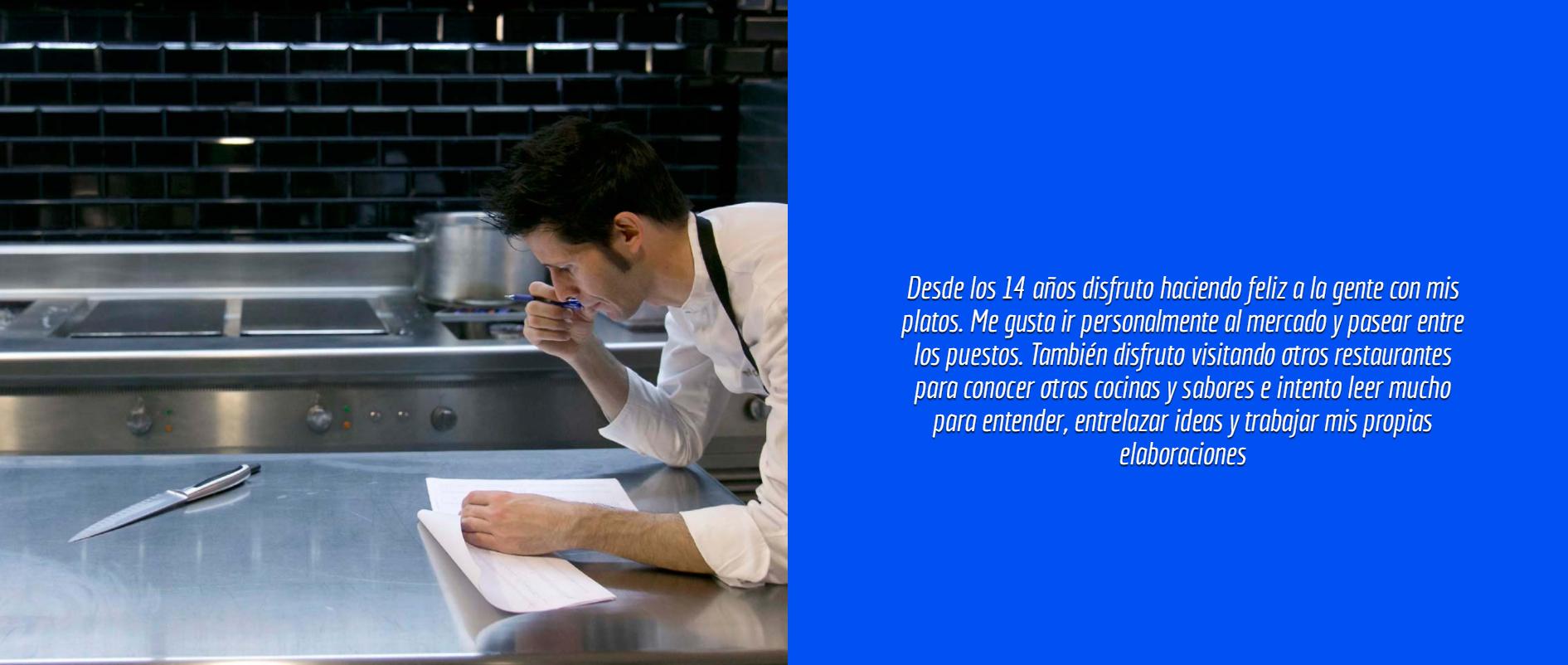 Presentación del chef Manolito en la web del Quema